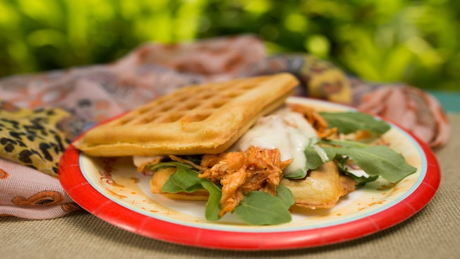 Buffalo chicken waffle slider plate at Flame Tree Barbeque