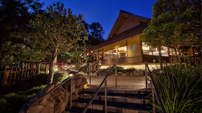 Katsura Grill at Epcot, lit up at night