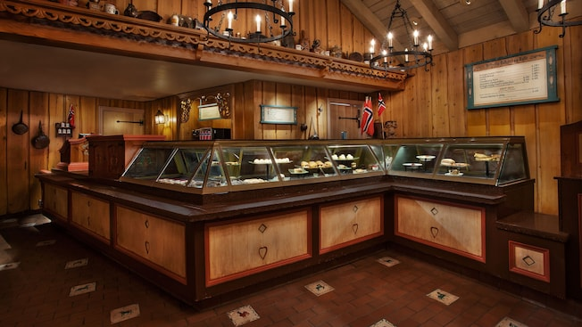 Refrigerated display cases inside Kringla Bakeri og Kafe in Norway at Epcot