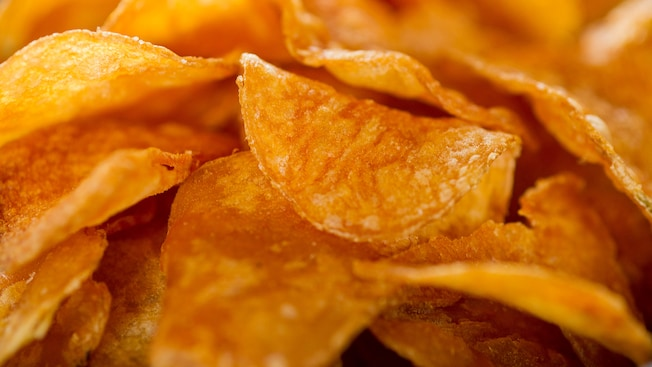 A close up of freshly made kettle chips