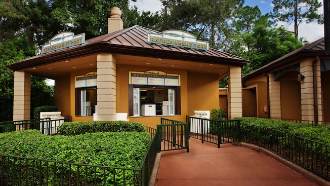 Exterior del puesto Refreshment Port quiosco en World Showcase, en Epcot