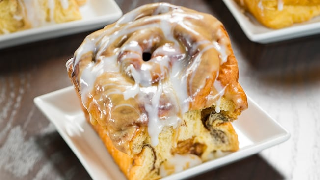 A deliciously gooey warm cinammon roll available at Gaston's Tavern