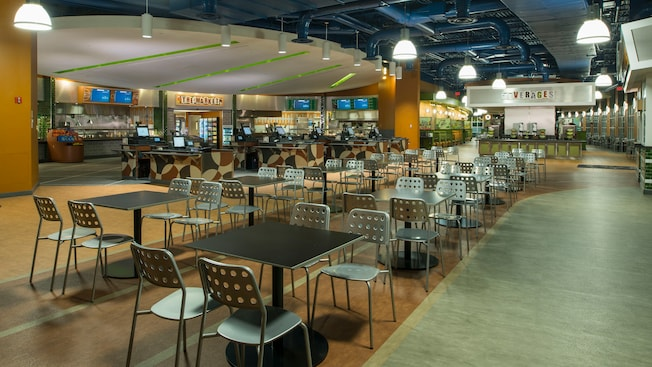 A large modern-style food court