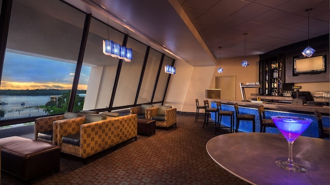 Outer Rim lounge at Disney's Contemporary Resort with view of Bay Lake through window