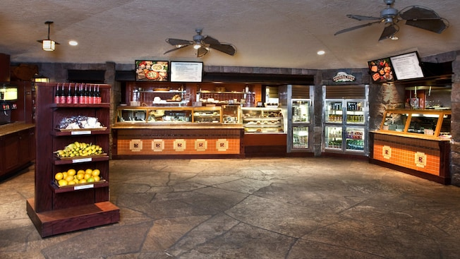 Service counter and display cases at Roaring Fork at Disney's Wilderness Lodge