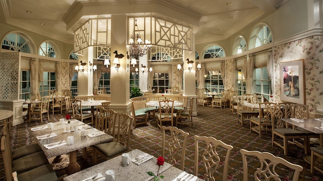 A sunny and spacious dining room at the Grand Floridian Cafe