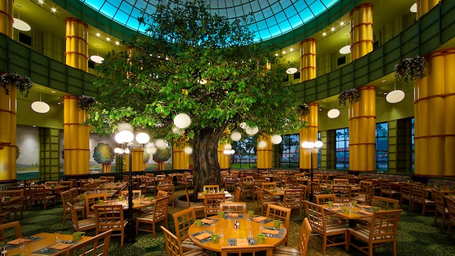 A 25 Foot Tall Tree Standing In The Center Of A Dining Room, Surrounded