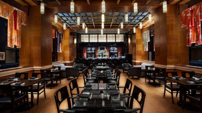 Dining room of Kimonos sushi restaurant at Walt Disney World Swan Hotel