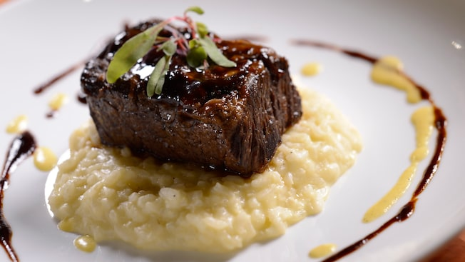 Cabernet-braised short rib atop creamy risotto and drizzled with a garnish of cabernet reduction