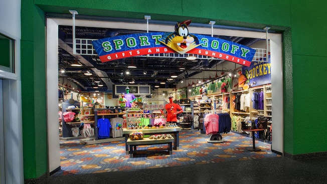 Parte externa da Sport Goofy Gifts and Sundries no Disney's All-Star Sports Resort