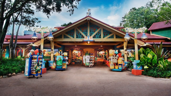 Gift items at entrance to Island Mercantile on Discovery Island at Disney's Animal Kingdom park