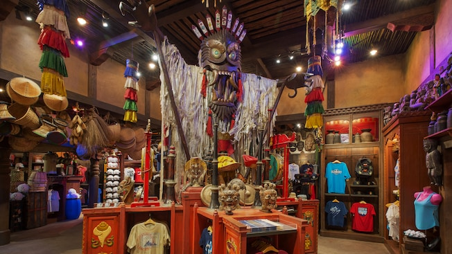 Merchandise inside the Serka Zong Bazaar at Disney's Animal Kingdom park