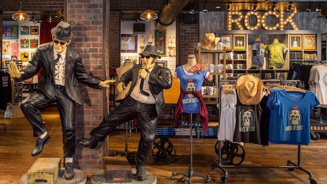 Life size sculptures of the Blues Brothers on display within the House of Blues Company Store