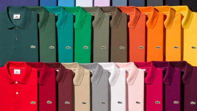 A large variety of Lacoste polo shirts