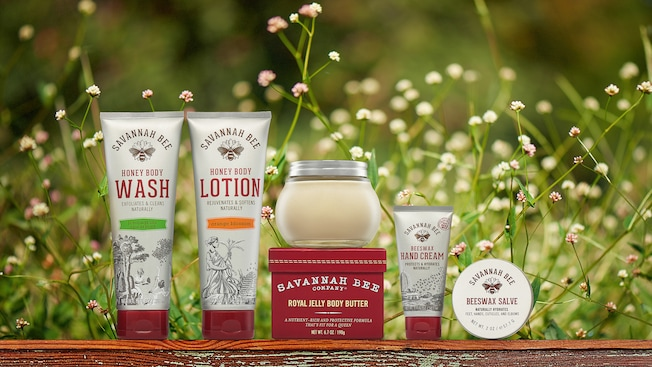 A lineup of Savannah Bee Company products including the honey body wash, body lotion , hand cream royal jelly body butter and beeswax salve