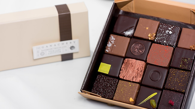 A box of 16 assorted chocolate squares from The Ganachery