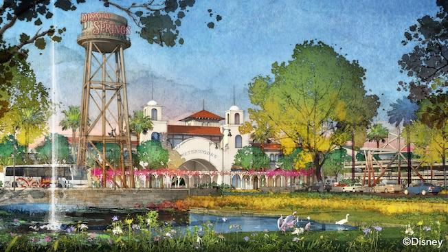 Arte conceitual na entrada do Town Center, com a caixa d'água do Disney Springs aparecendo em destaque à frente