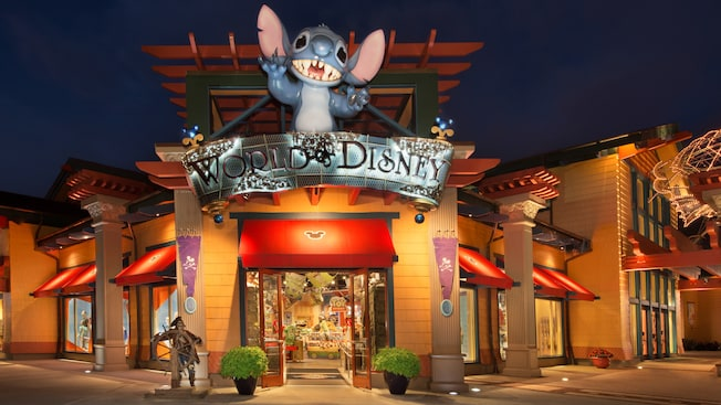 Exterior of the World of Disney Store at the Downtown Disney Area, lit up at night