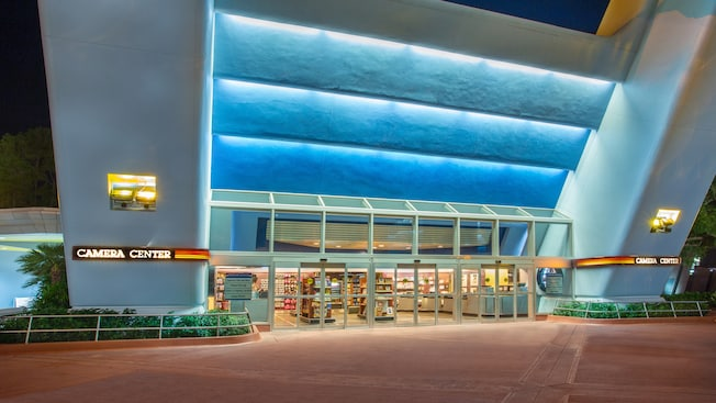 Panoramic view of Camera Center façade in Future World at Epcot