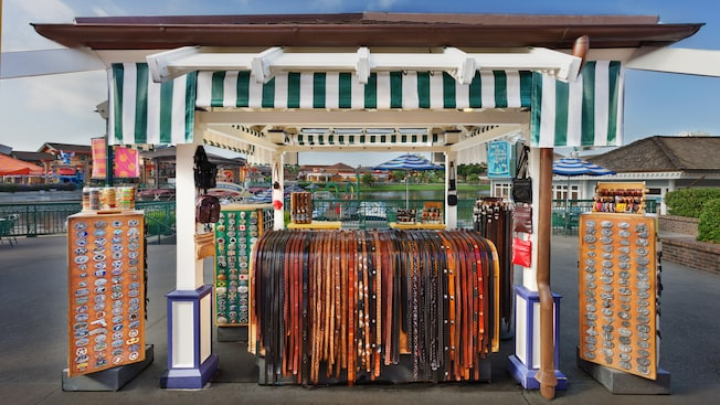 Leather Goods kiosk near Village Lake at Downtown Disney