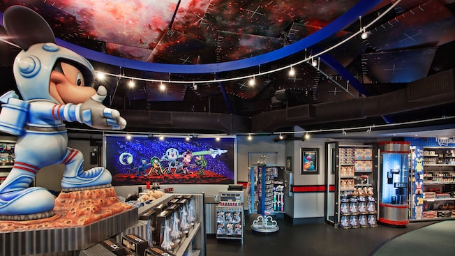 Astronaut Mickey statue and merchandise at Mission Space Cargo Bay at Epcot