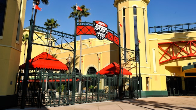 The signage over the arched gateway to the ESPN Wide World of Sports Complex