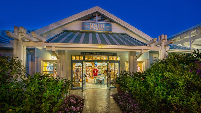 Shrubs line the entrance to Conch Flats General Store at Disney's Old Key West Resort