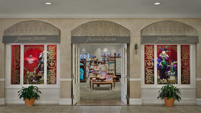 Entrance and window displays at Jackson Square Gifts at Disney's Port Orleans Resort – Riverside