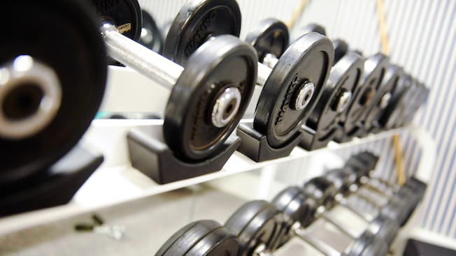 Staggered rows of neatly organized barbells of differing weights in an exercise room