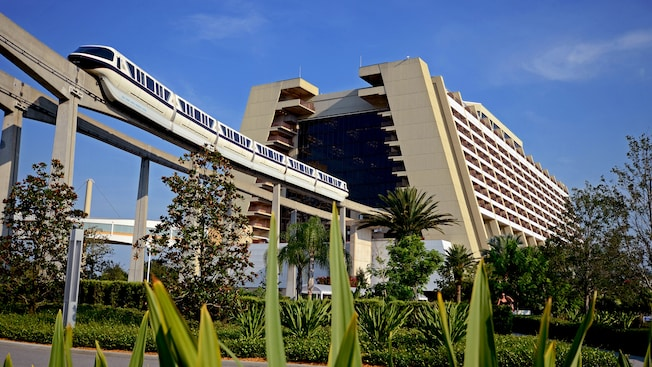 The monorail departing the atrium of Disney's Contemporary Resort at Walt Disney World Resort in Orlando, Florida