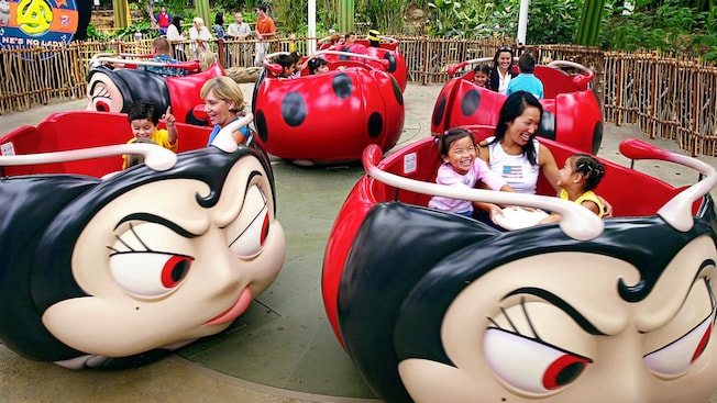 A mother and 2 kids laugh on the Francis' Ladybug Boogie attraction