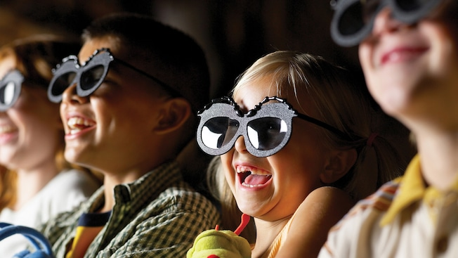 Young Guests wear 3D bug-eye glasses to see how It's Tough to Be a Bug!