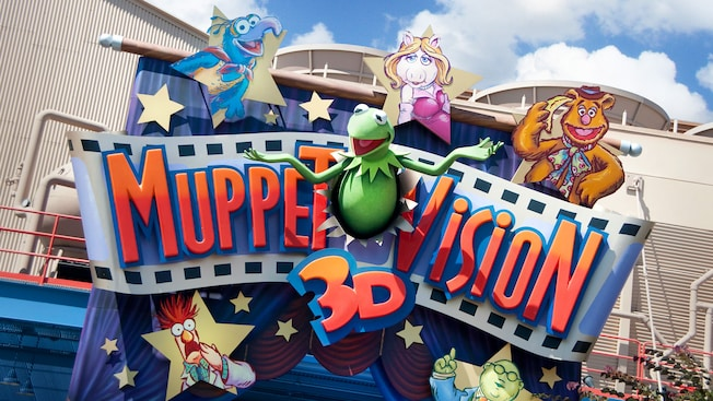 Attraction sign for Muppet Vision 3D in Disney California Adventure Park