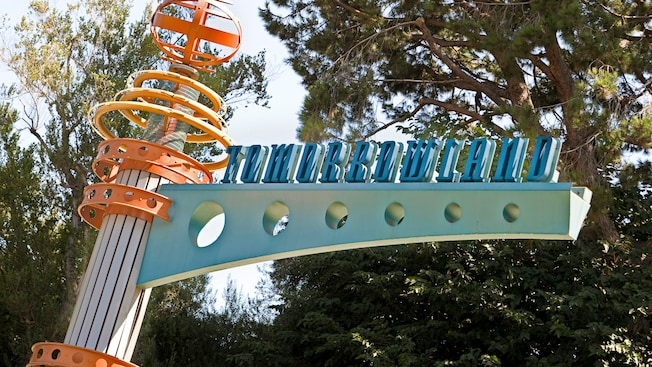 Sign for the Tomorrowland train station, one of 4 Disneyland Railroad stations