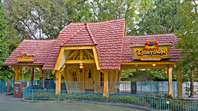 Entrance to the wacky Mickey's Toontown Train Depot and Disneyland Railroad boarding platform