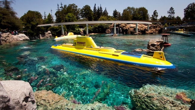 The Argonaut, one of the Finding Nemo Submarine Voyage vehicles, floats on the water