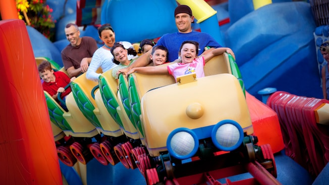Kids have a blast on Gadget's Go Coaster, a Disneyland attraction