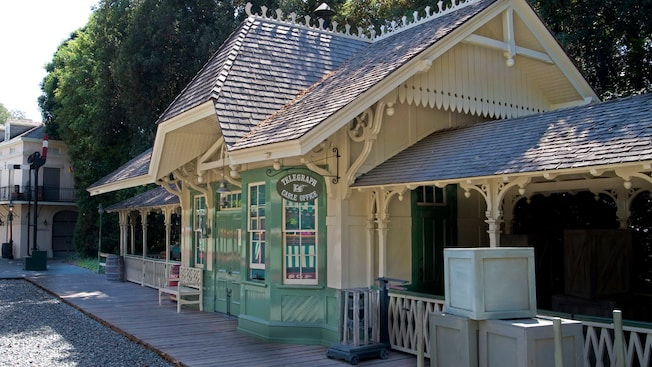 The Disneyland Railroad boarding platform at the New Orleans Square train station