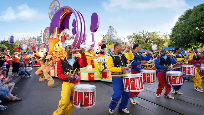 Drummers and Disney Characters lead Mickey's Soundsational Parade at Disneyland Park