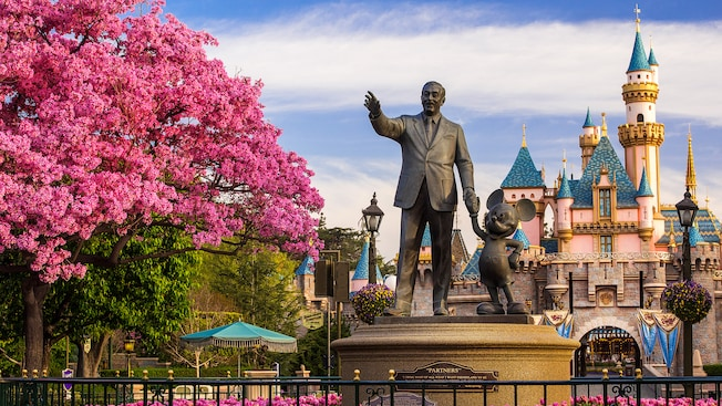 Partners Statue of Walt and Mickey, with flowers in full bloom and the castle in the background