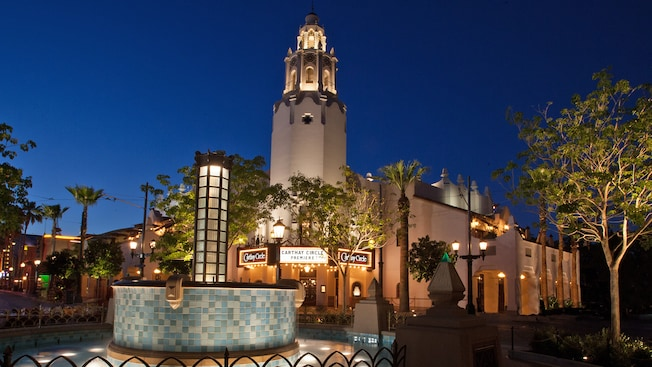 The entrance and campanile of the Carthay Circle Restaurant in Disney California Adventure Park