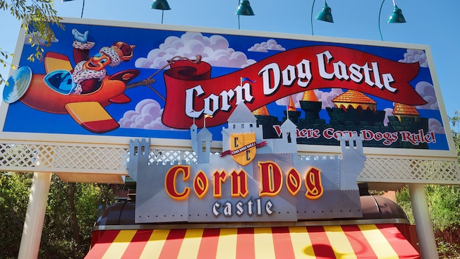 Sign for Corndog Castle, Where Corndogs Rule! at Disney California Adventure Park