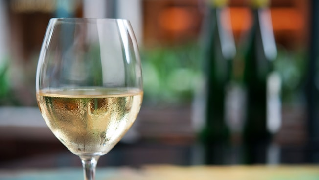 White wine in a glass at Mendocino Terrace at Golden Wine Winery