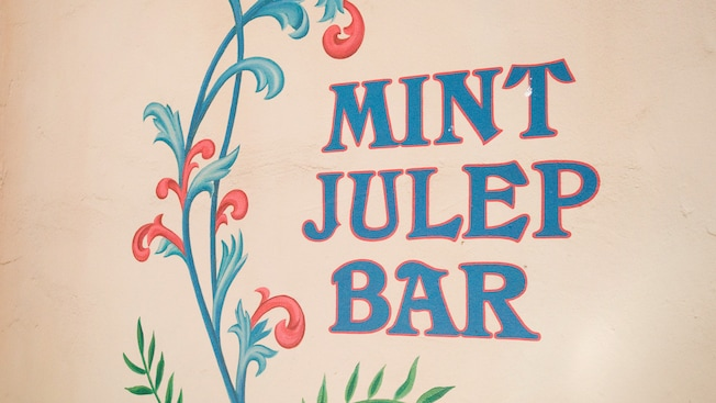 Sign for Mint Julep Bar, French Quarter dining location in Disneyland Park