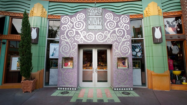 Entrance sign for Something Silver, a Downtown Disney shop