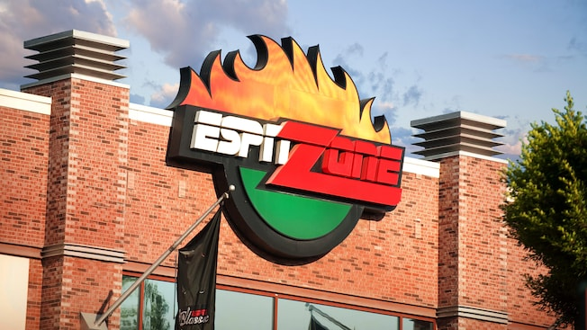 Sign for ESPN Zone, a shop in Downtown Disney District in Anaheim, CA