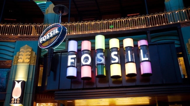 Sign for Fossil, a Downtown Disney shop in Anaheim, CA that sells accessories and clothing