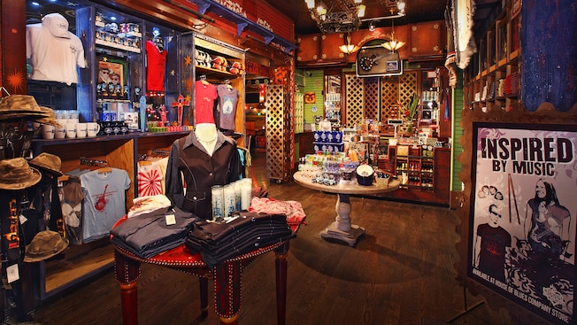 Rock 'n Roll themed merchandise inside the House of Blues Store in Anaheim, CA