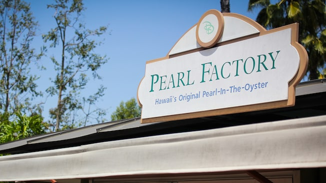 Sign for Pearl Factory, Hawaii's Original Pearl-In-The-Oyster, a Downtown Disney shop
