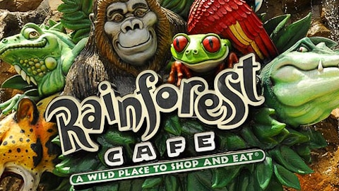 Entrance sign for Rainforest Cafe, A Wild Place to Shop and Eat